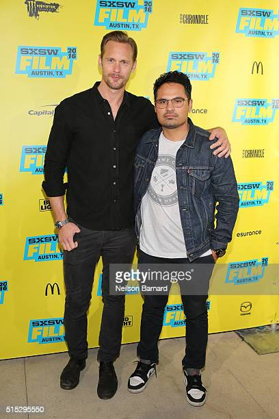 Actors Alexander Skarsgard and Michael Pena attend the 'War On Everyone' premiere during the 2016 SXSW Music Film Interactive Festival at Topfer...