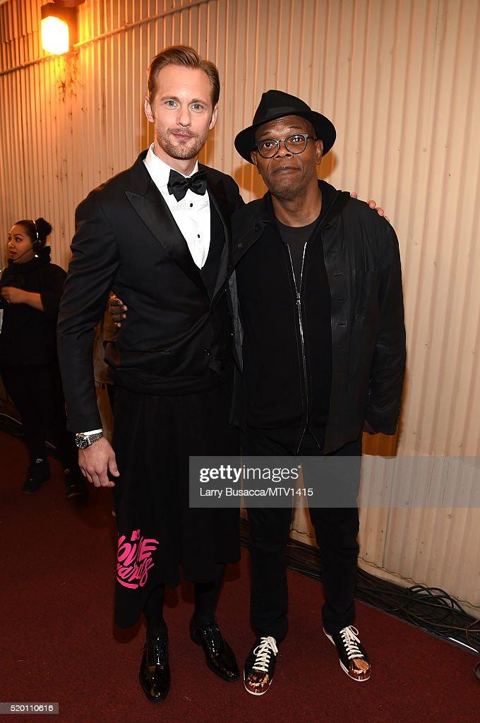 Actors Alexander Skarsgard and Samuel L Jackson attend the 2016 MTV Movie Awards at Warner Bros Studios on April 9 2016 in Burbank California MTV...