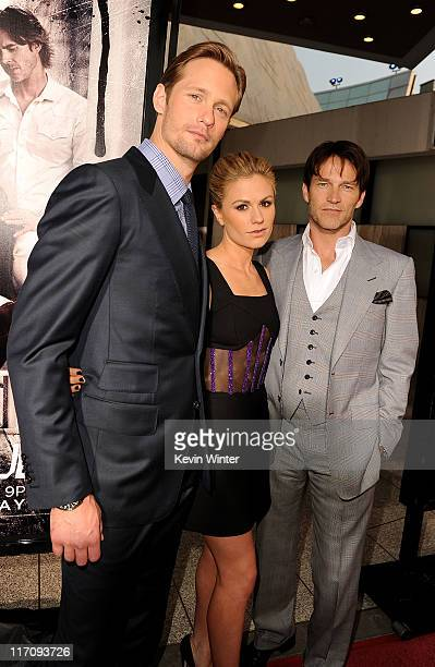 Actors Alexander Skarsgard Anna Paquin and Stephen Moyer arrive at premiere of HBO's 'True Blood' Season 4 at ArcLight Cinemas Cinerama Dome on June...