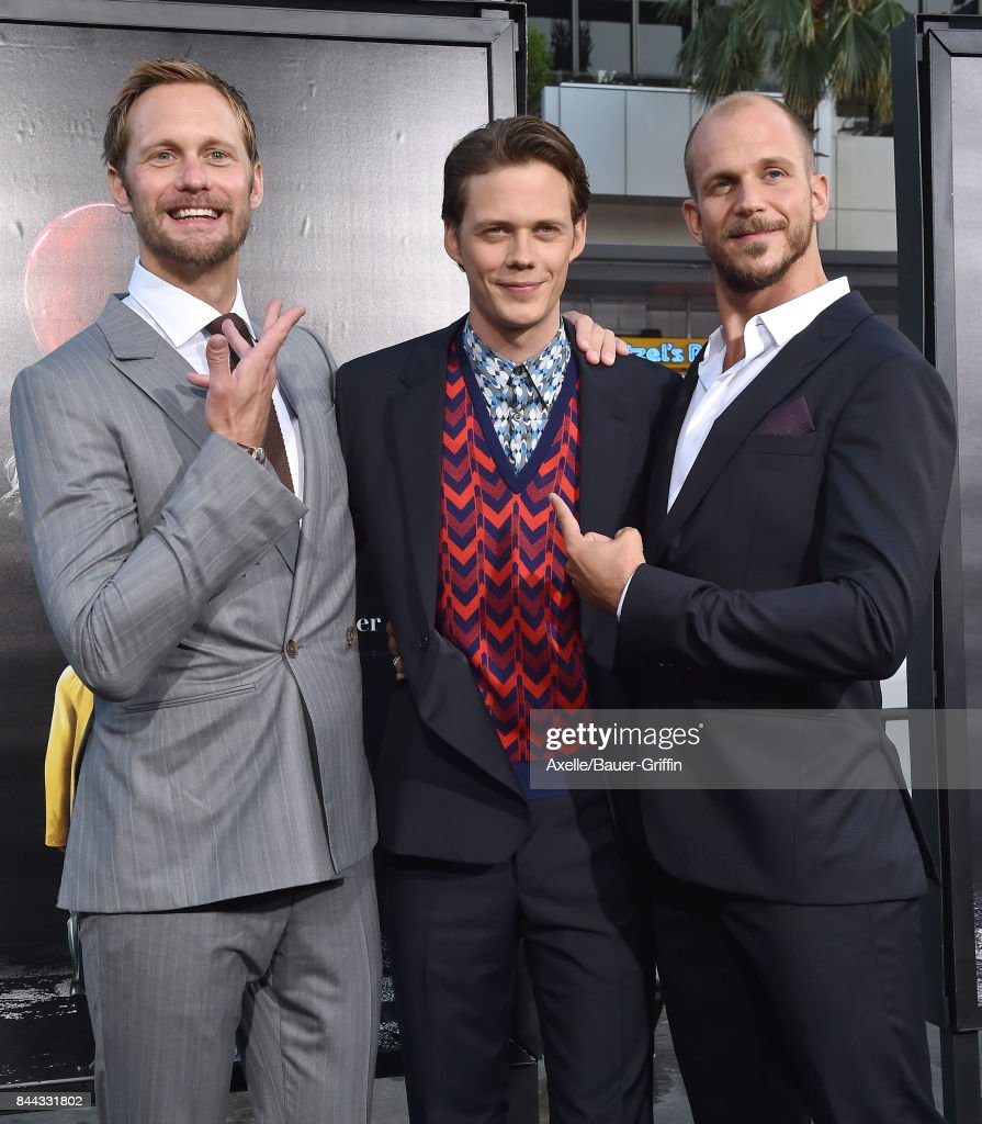Actors Alexander Skarsgard, Bill Skarsgard and Gustaf Skarsgard arrive at the premiere of 'It' at TCL Chinese Theatre on September 5, 2017 in Hollywood, California.