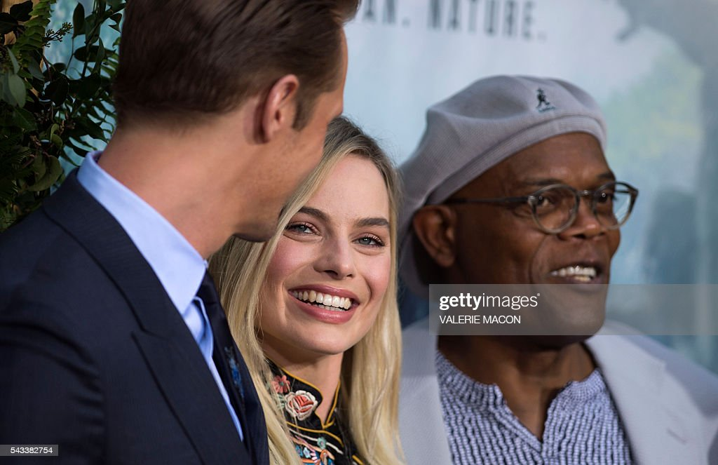Actors Alexander Skarsgard, Margot Robbie and Samuel L. Jackson attend the world premiere of 'The Legend of Tarzan' in Hollywood, California, on June 27, 2016. / AFP / VALERIE