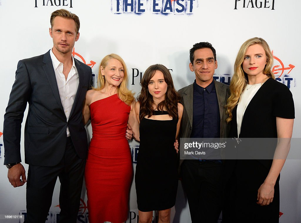 Actors Alexander Skarsgard, Patricia Clarkson and Ellen Page, writer/director Zal Batmanglij and writer/actress Brit Marling arrive at the premiere of Fox Searchlight Pictures' 'The East' presented by Piaget at ArcLight Hollywood on May 28, 2013 in Hollywood, California.