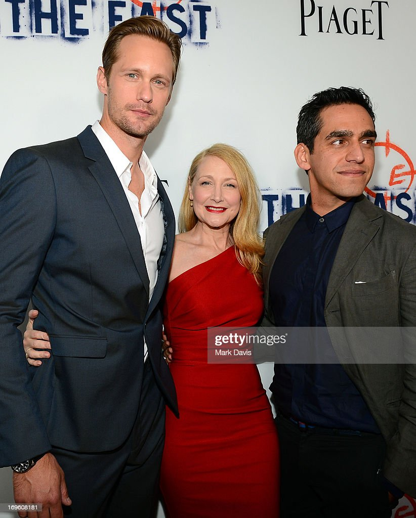 Actors Alexander Skarsgard, <a gi-track='captionPersonalityLinkClicked' href=/galleries/search?phrase=Patricia+Clarkson&family=editorial&specificpeople=202994 ng-click='$event.stopPropagation()'>Patricia Clarkson</a> and Writer/Director <a gi-track='captionPersonalityLinkClicked' href=/galleries/search?phrase=Zal+Batmanglij&family=editorial&specificpeople=4619710 ng-click='$event.stopPropagation()'>Zal Batmanglij</a> arrive at the premiere of Fox Searchlight Pictures' 'The East' presented by Piaget at ArcLight Hollywood on May 28, 2013 in Hollywood, California.