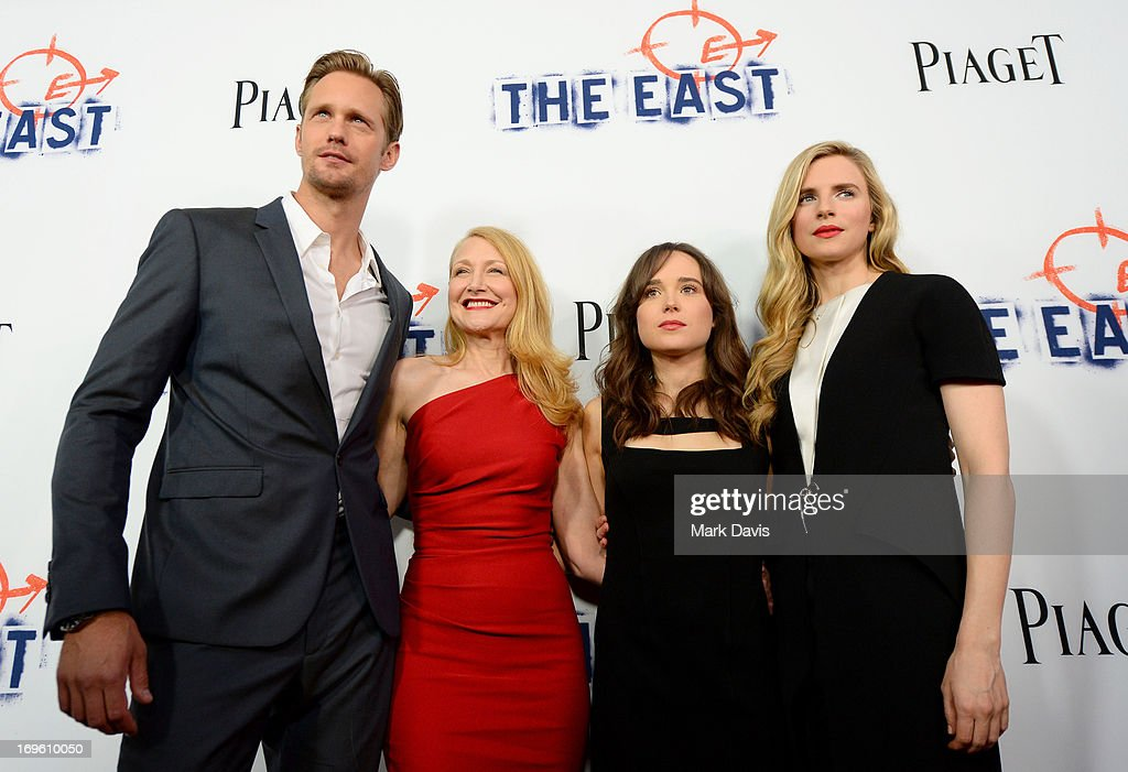 Actors Alexander Skarsgard, Patricia Clarkson, Ellen Page and Brit Marling arrive at the premiere of Fox Searchlight Pictures' 'The East' presented by Piaget at ArcLight Hollywood on May 28, 2013 in Hollywood, California.