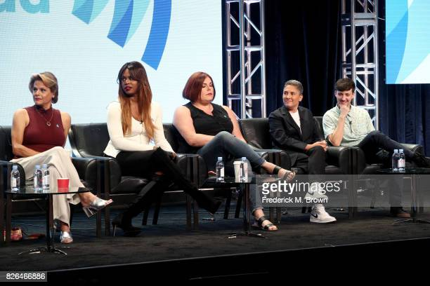 Actors Alexandra Billings of 'Transparent' and 'How to Get Away with Murder' and Laverne Cox of 'Orange Is the New Black' and 'Doubt' creator of...