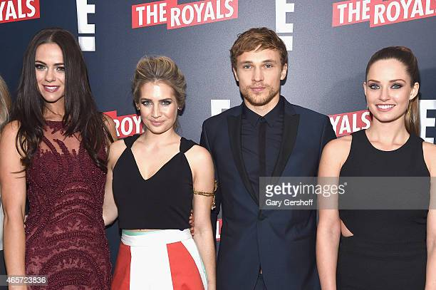 Actors Alexandra Park Sophie Colquhoun William Moseley and Merritt Patterson attend 'The Royals' New York Series Premiere at The Standard Highline on...