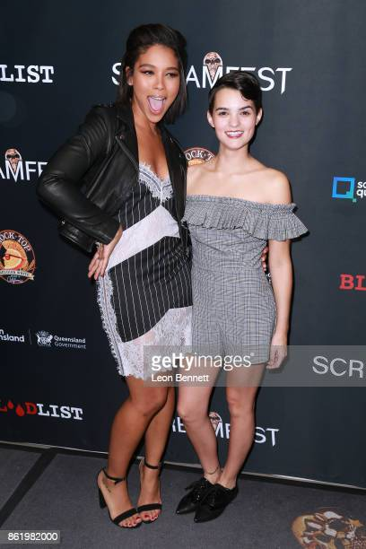 Actors Alexandra Shipp and Brianna Hildebrand attends the 2017 Screamfest Horror Film Festival Premiere Of 'Tragedy Girls' at TCL Chinese 6 Theatres...