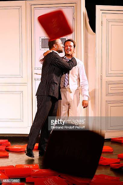 Actors Alexandre Brasseur and Davy Sardou acknowledge the applause of the audience whyle the traditional throw of cushions at the final of the...