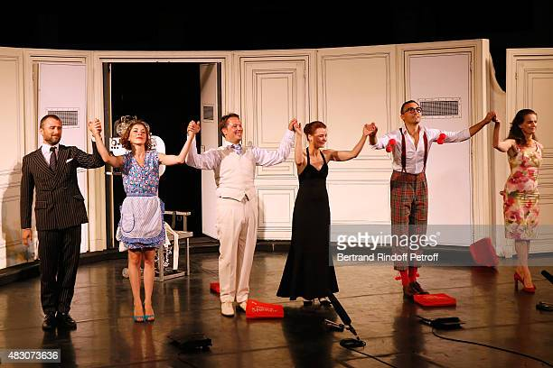 Actors Alexandre Brasseur Zoe Nonn Davy Sardou Christelle Reboul Thierry Lopez and Veronique Boulanger acknowledge the applause of the audience whyle...