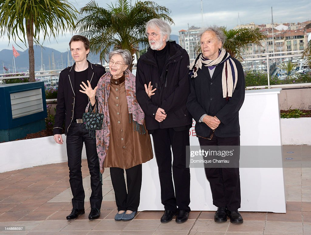 Actors Alexandre Tharaud, Emmanuelle Riva, director Michael Haneke and actor Jean-Louis Trintignant attend the 'Amour' Photocall during the 65th Annual Cannes Film Festival at Palais des Festivals on May 20, 2012 in Cannes, France.