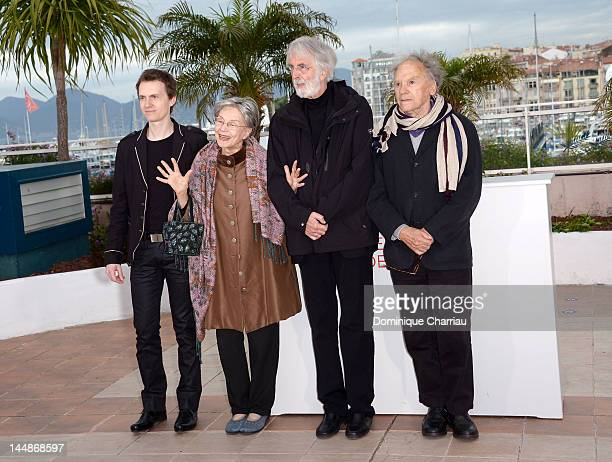 Actors Alexandre Tharaud Emmanuelle Riva director Michael Haneke and actor JeanLouis Trintignant attend the 'Amour' Photocall during the 65th Annual...