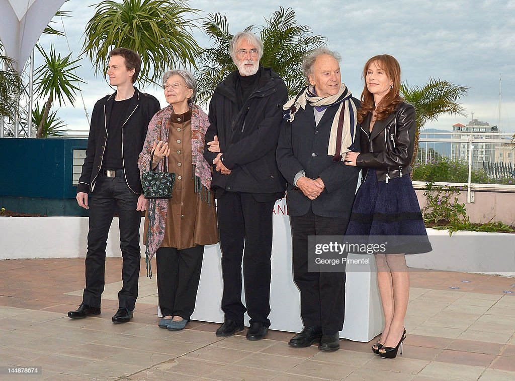 Actors Alexandre Tharaud, <a gi-track='captionPersonalityLinkClicked' href=/galleries/search?phrase=Emmanuelle+Riva&family=editorial&specificpeople=2029319 ng-click='$event.stopPropagation()'>Emmanuelle Riva</a>, director <a gi-track='captionPersonalityLinkClicked' href=/galleries/search?phrase=Michael+Haneke&family=editorial&specificpeople=233739 ng-click='$event.stopPropagation()'>Michael Haneke</a>, actors <a gi-track='captionPersonalityLinkClicked' href=/galleries/search?phrase=Jean-Louis+Trintignant&family=editorial&specificpeople=1822183 ng-click='$event.stopPropagation()'>Jean-Louis Trintignant</a> and <a gi-track='captionPersonalityLinkClicked' href=/galleries/search?phrase=Isabelle+Huppert&family=editorial&specificpeople=662796 ng-click='$event.stopPropagation()'>Isabelle Huppert</a> attend the 'Amour' Photocall during the 65th Annual Cannes Film Festival at Palais des Festivals on May 20, 2012 in Cannes, France.