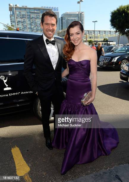 Actors Alexis Denisof and Alyson Hannigan arrive with Audi at the 65th Annual Primetime Emmy Awards held at Nokia Theatre LA Live on September 22...