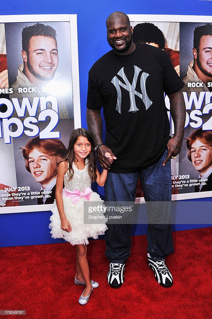 Actors Alexys Nycole Sanchez (L) and Shaquille O'Neal attend the 'Grown Ups 2' New York Premiere at AMC Lincoln Square Theater on July 10, 2013 in New York City.