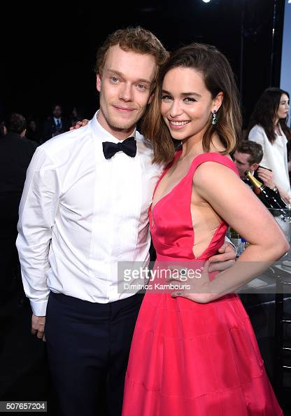 Actors Alfie Allen and Emilia Clarke pose during The 22nd Annual Screen Actors Guild Awards at The Shrine Auditorium on January 30 2016 in Los...