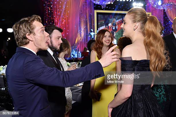 Actors Alfie Allen John Bradley Hannah Murray and Sophie Turner attend The 22nd Annual Screen Actors Guild Awards at The Shrine Auditorium on January...