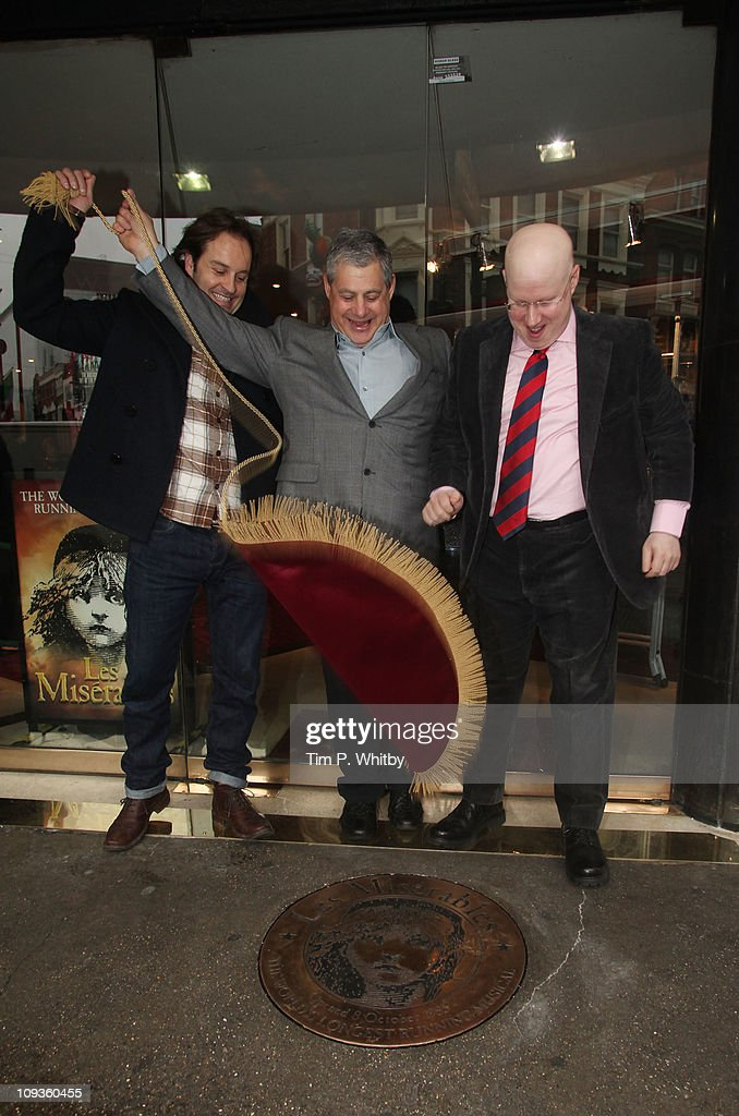 Actors Alfie Boe, Matt Lucas and show producer Cameron Mackintosh (C) attend as a plaque is unveiled to commemorate 'Les Miserables' as the longest running West End musical. It was also announced that Matt Lucas and Alfie Boe will join the cast of Les Miserables later this year at The Queens Theatre on February 23, 2011 in London, England.