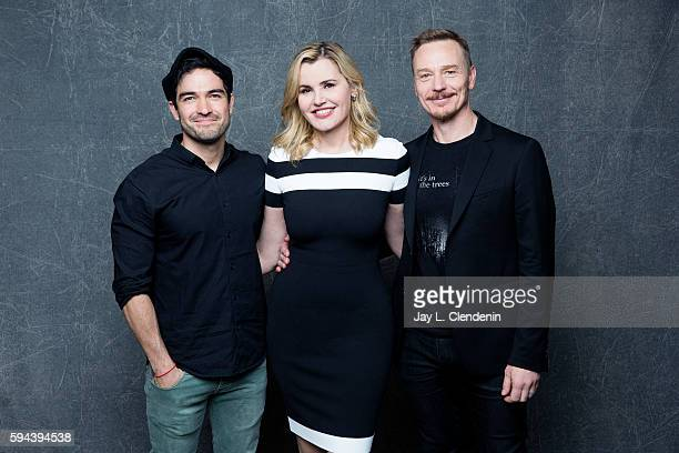 Actors Alfonso Herrera Geena Davis and Ben Daniels of 'The Exocist' are photographed for Los Angeles Times at San Diego Comic Con on July 22 2016 in...