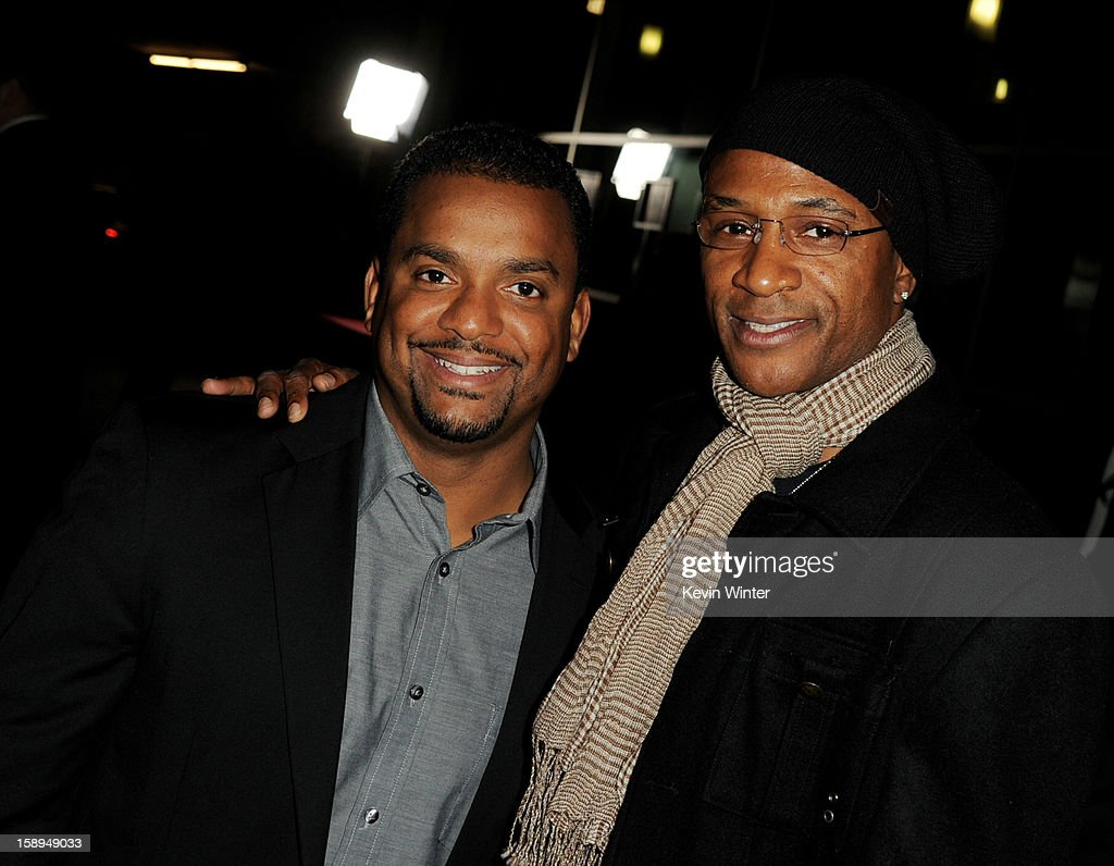 Actors Alfonso Ribeiro (L) and Tommy Davidson arrive at the premiere of Open Road Films' 'A Haunted House' at the Arclight Theatre on January 3, 2013 in Los Angeles, California.