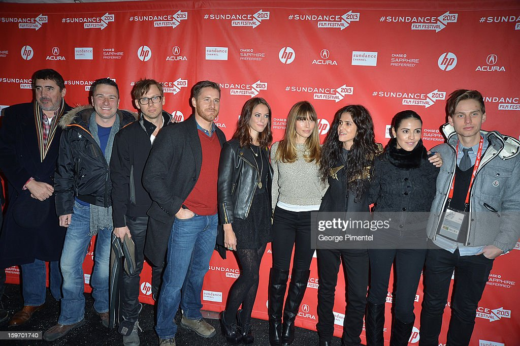 Actors Alfred Molina, producer Matthew R. Brady, Jimmi Simpson, Sam Jaeger, Kaya Scodelario, Jessica Biel and director Francesca Gregorini attend the 'Emanuel and The Truth About Fishes' Premiere during the 2013 Sundance Film Festival at Library Center Theater on January 18, 2013 in Park City, Utah.