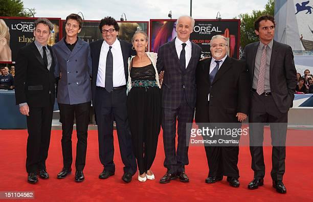 Actors Alfredo CastroFabrizio Falcao with director Daniele Cipri Aurora Quattrocchi and actors Toni Servillo Giacomo Civiletti and guest attend 'E'...