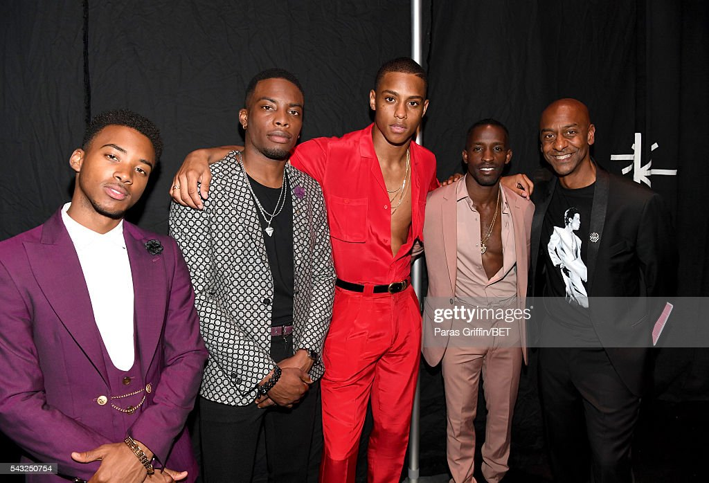 Actors Algee Smith, Woody McClain, Keith Powers, <a gi-track='captionPersonalityLinkClicked' href=/galleries/search?phrase=Elijah+Kelley&family=editorial&specificpeople=718968 ng-click='$event.stopPropagation()'>Elijah Kelley</a>, and BET Music Programming and Specials President Stephen G. Hill attend the 2016 BET Awards at the Microsoft Theater on June 26, 2016 in Los Angeles, California.
