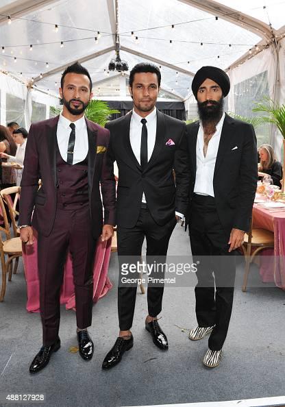 Actors Ali Kazmi Randeep Hooda and Waris Ahluwalia attend the Holt Renfrew cast dinner for 'Beeba Boys' during the 2015 Toronto International Film...