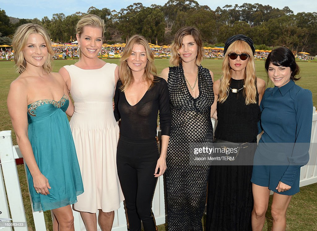 Actors Ali Larter, Rebecca Romijn and Ellen Pompeo, host Delfina Blaquier, designer Rachel Zoe and actress Selma Blair attend the Third Annual Veuve Clicquot Polo Classic at Will Rogers State Historic Park on October 6, 2012 in Pacific Palisades, California.
