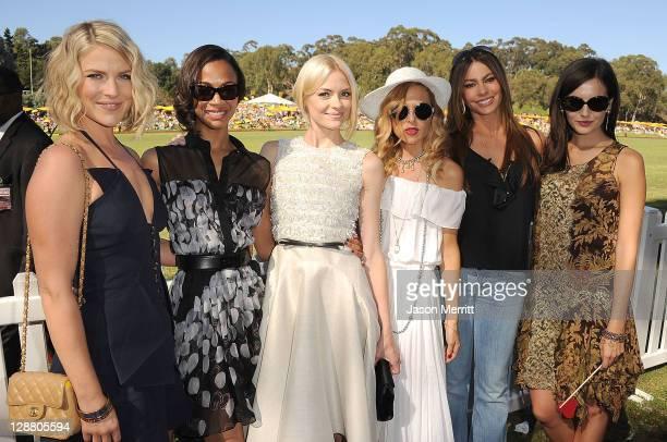Actors Ali Larter Zoe Saldana Jaime King stylist Rachel Zoe and actresses Sofia Vergara and Camilla Belle attend the Veuve Clicquot Polo Classic Los...