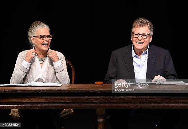 Actors Ali MacGraw and Ryan O'Neal onstage for 'Love Letters' at the Wallis Annenberg Center for the Performing Arts on October 14 2015 in Beverly...