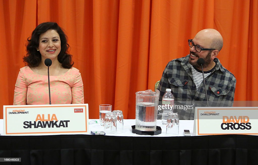 Actors <a gi-track='captionPersonalityLinkClicked' href=/galleries/search?phrase=Alia+Shawkat&family=editorial&specificpeople=206872 ng-click='$event.stopPropagation()'>Alia Shawkat</a> and David Cross attend The Netflix Original Series 'Arrested Development' Press Conference at Sheraton Universal on May 4, 2013 in Universal City, California.