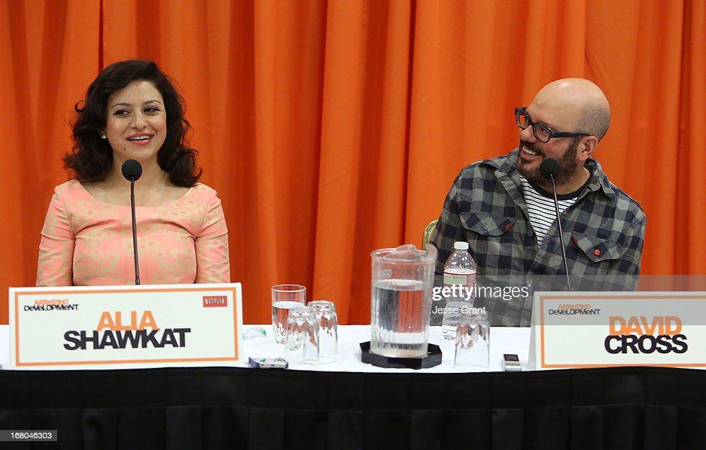 Actors Alia Shawkat and David Cross attend The Netflix Original Series 'Arrested Development' Press Conference at Sheraton Universal on May 4, 2013 in Universal City, California.