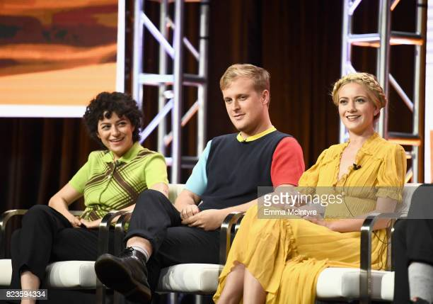 Actors Alia Shawkat John Early and Meredith Hagner of 'Search Party' speak onstage during the TCA Turner Summer Press Tour 2017 Presentation at The...