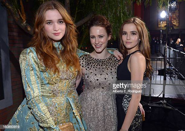 Actors Alice Englert Rachel Brosnahan and Zoey Deutch attend the Los Angeles premiere of Warner Bros Pictures' 'Beautiful Creatures' at TCL Chinese...