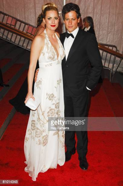 Actors Alice Evans and Ioan Gruffudd departs from the Costume Institute Gala Superheroes Fashion And Fantasy at the Metropolitan Museum of Art on May...