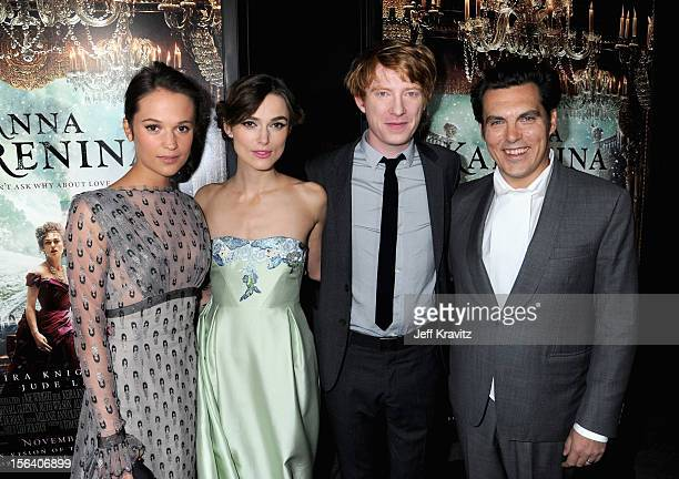 Actors Alicia Vikander Keira Knightley Domhnall Gleeson and director Joe Wright attend the premiere of Focus Features' 'Anna Karenina' held at...