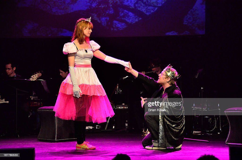 Actors Alicia Witt and Anthony Rapp perform during the 24 Hour Musicals 2013 at the Gramercy Theatre on April 29, 2013 in New York City.