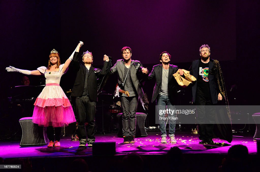 Actors Alicia Witt, Anthony Rapp, Taran Killam, Wesley Taylor, and Pat McRoberts perform during the 24 Hour Musicals 2013 at the Gramercy Theatre on April 29, 2013 in New York City.