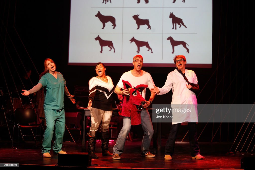 Actors Alicia Witt RavenSymone Mo Rocca and Cady Huffman perform during the 2010 24 Hour Musicals at the Blender Theatre on February 8 2010 in New...