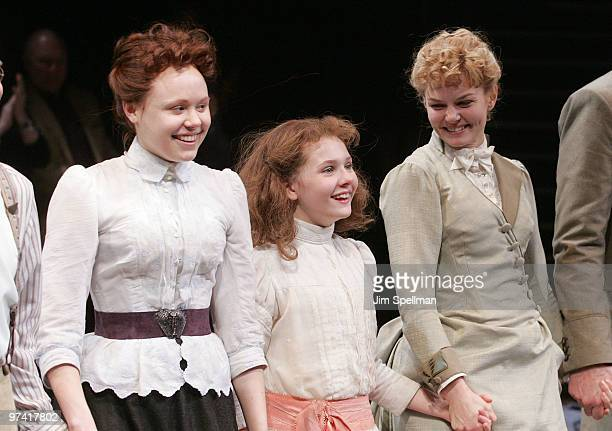 Actors Alison Pill Abigail Breslin and Jennifer Morrison attend the Broadway opening of 'The Miracle Worker' at the Circle in the Square Theatre on...