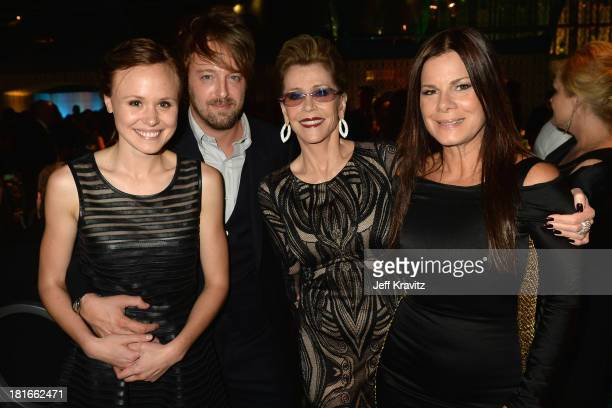 Actors Alison Pill guest Jane Fonda and Marcia Gay Harden attend HBO's official Emmy after party at The Plaza at the Pacific Design Center on...