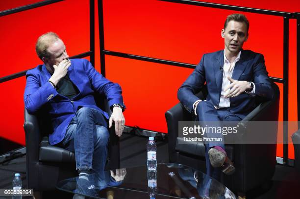 Actors Alistair Petrie and Tom Hiddleston attend a panel discussion about 'The Night Manager' during the BFI Radio Times TV Festival at BFI Southbank...