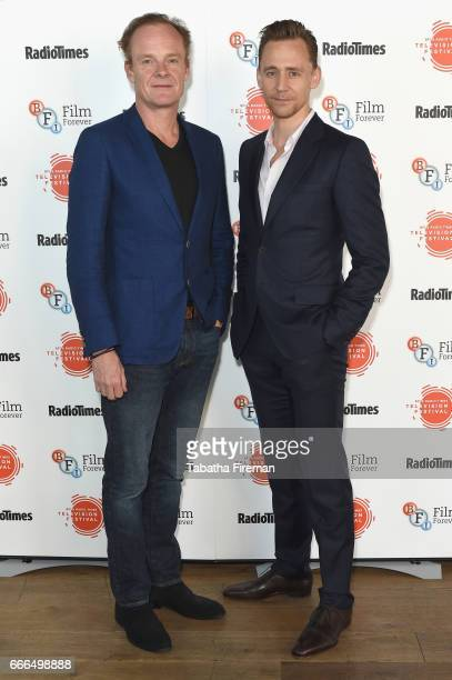 Actors Alistair Petrie and Tom Hiddleston attend the BFI Radio Times TV Festival at BFI Southbank on April 9 2017 in London England