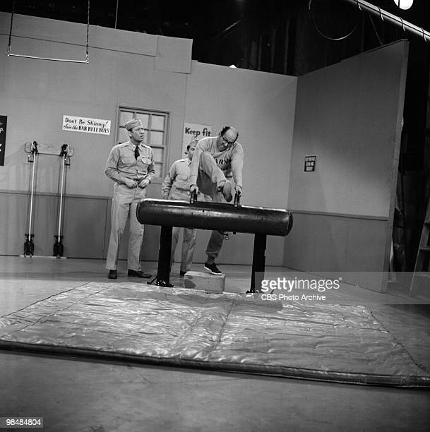 Actors Allan Melvin as Cpl Steve Henshaw and Phil Silvers as MSgt Ernest G 'Ernie' Bilko in 'The Physical Checkup' on 'The Phil Silvers Show' on...