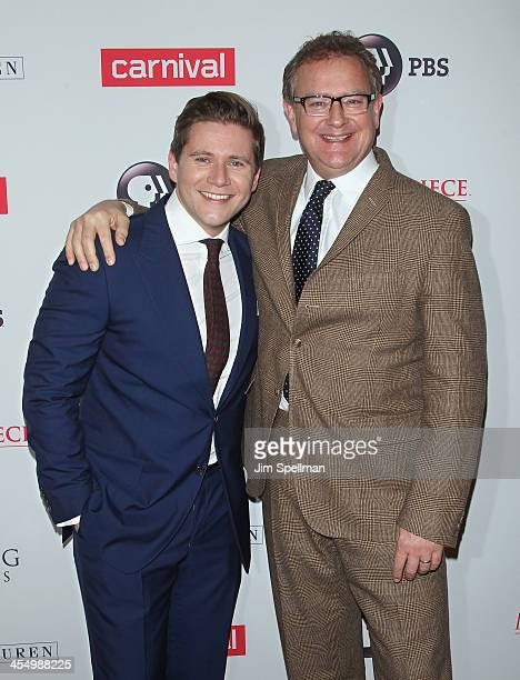 Actors Allen Leech and Hugh Bonneville attend 'Downton Abbey' Season Four cast photo call at Millenium Hotel on December 10 2013 in New York City