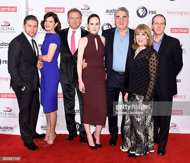 Actors Allen Leech Elizabeth McGovern Hugh Bonneville Michelle Dockery Jim Carter Phyllis Logan and Kevin Doyle attend The 'Downton Abbey' Series...
