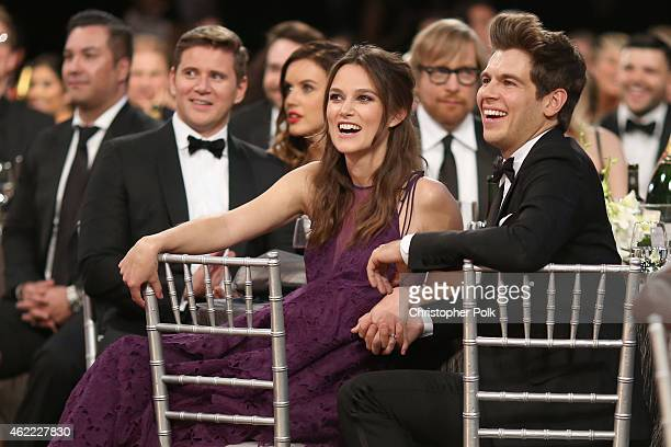 Actors Allen Leech Keira Knightley and musician James Righton attend TNT's 21st Annual Screen Actors Guild Awards at The Shrine Auditorium on January...
