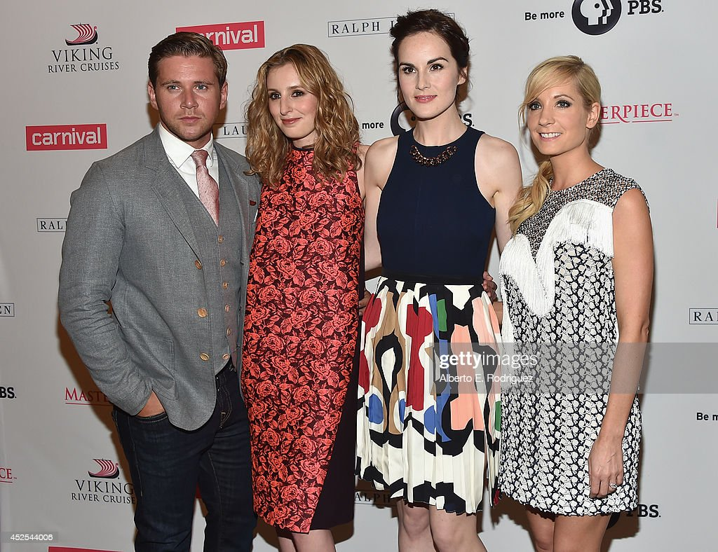 Actors <a gi-track='captionPersonalityLinkClicked' href=/galleries/search?phrase=Allen+Leech&family=editorial&specificpeople=2167022 ng-click='$event.stopPropagation()'>Allen Leech</a>, <a gi-track='captionPersonalityLinkClicked' href=/galleries/search?phrase=Laura+Carmichael&family=editorial&specificpeople=7201392 ng-click='$event.stopPropagation()'>Laura Carmichael</a>, <a gi-track='captionPersonalityLinkClicked' href=/galleries/search?phrase=Michelle+Dockery&family=editorial&specificpeople=4047702 ng-click='$event.stopPropagation()'>Michelle Dockery</a> and <a gi-track='captionPersonalityLinkClicked' href=/galleries/search?phrase=Joanne+Froggatt&family=editorial&specificpeople=2364245 ng-click='$event.stopPropagation()'>Joanne Froggatt</a> attend the 2014 Summer TCA Tour 'Downton Abbey' Season 5 photocall at The Beverly Hilton Hotel on July 22, 2014 in Beverly Hills, California.
