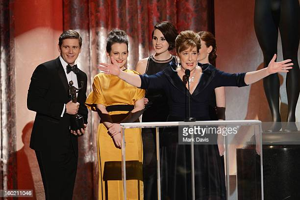 Actors Allen Leech Sophie McShera Michelle Dockery Phyllis Logan and Amy Nuttall accept the award for Outstanding Performance by an Ensemble in a...