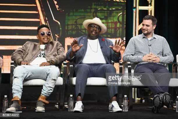 Actors Allen Maldonado Cedric the Entertainer and Executive producer John Carcieri of 'The Last OG' speak onstage during the TCA Turner Summer Press...